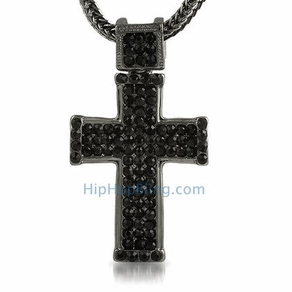 Black Classic Bling Bling Cross & Chain Small