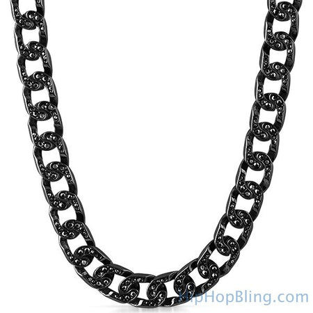Black & White Checkered Rhodium Hip Hop Chain