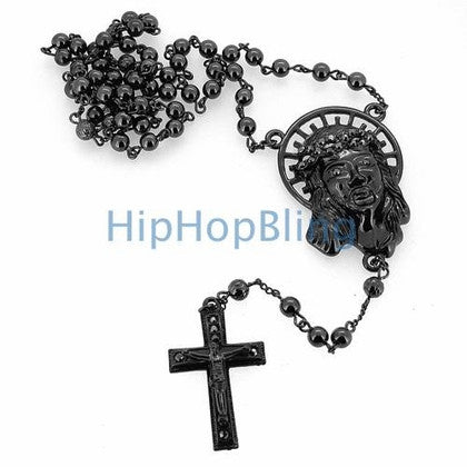 Black Hip Hop Rosary Jesus Halo & Cross