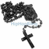 Black Jesus Piece Bling Bling Rosary Chain