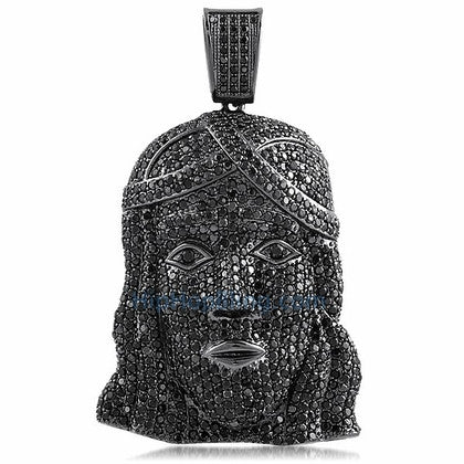 Black Jesus Piece CZ Full Micro Pave