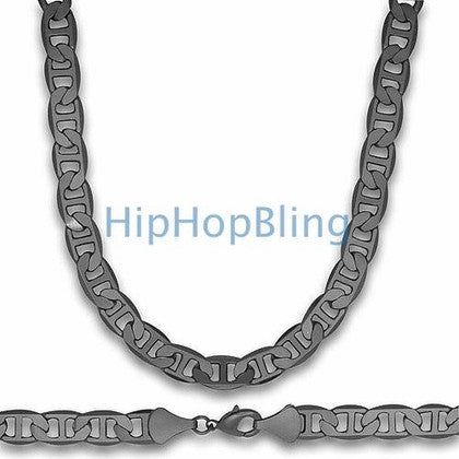 Black Marine Hip Hop Chain 10mm 36 Inches
