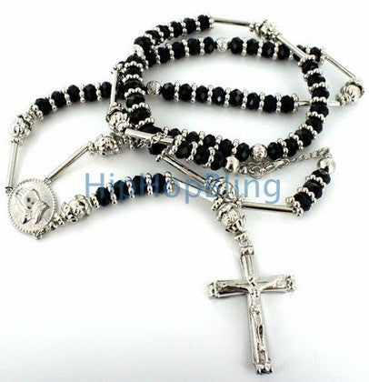 Black Raw Ice Silver Bling Bling Rosary Necklace