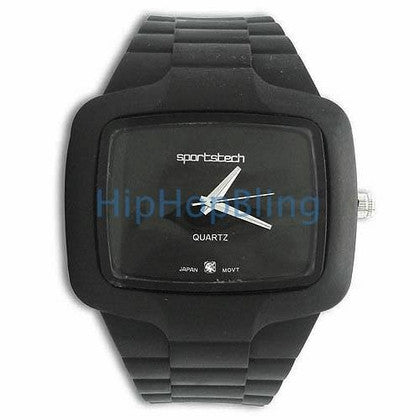 Black Rubber Fashion Mens Watch