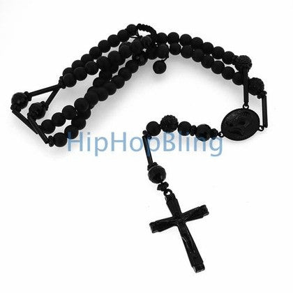 Black Stone Hip Hop Rosary Necklace