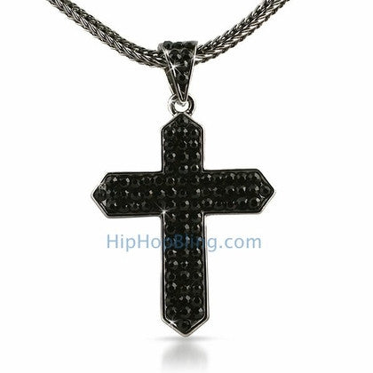 Black Taper Bling Cross & Chain Small