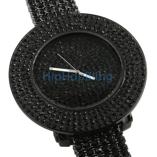 Black Totally Bling Bling Bling Custom Watch
