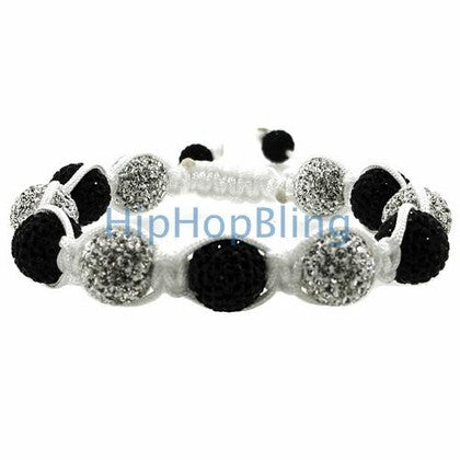 Black & White 10mm High End Disco Ball Bling Bracelet White Rope
