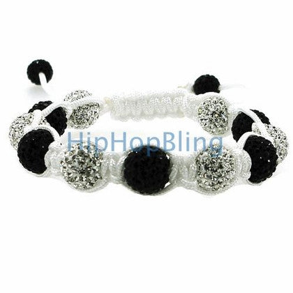 Black & White 12mm High End Bling Bling Bracelet White Rope