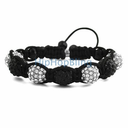 Black & White Bling Bling 7 Disco Ball Bracelet