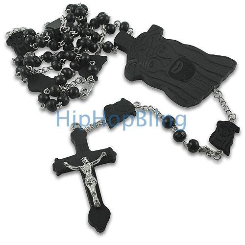 Black Wood Jesus Piece Link Rosary Necklace