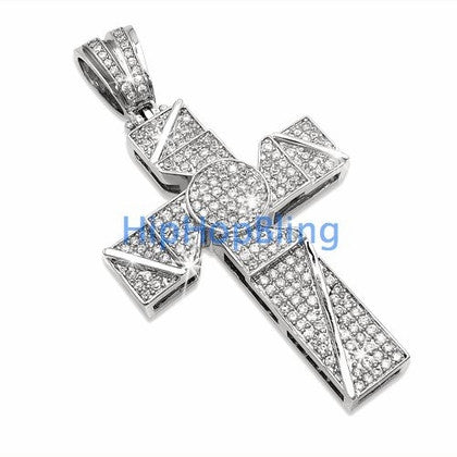 Blade Bling Cross CZ Micro Pave Pendant