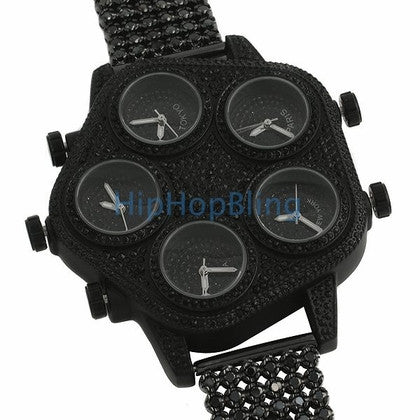 Bling Bling 5 Time Zone Watch ALL BLACK