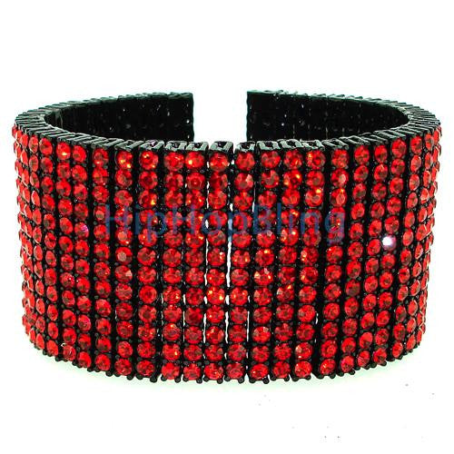 Bling Bling All Red on Black 12 Row Hip Hop Bracelet