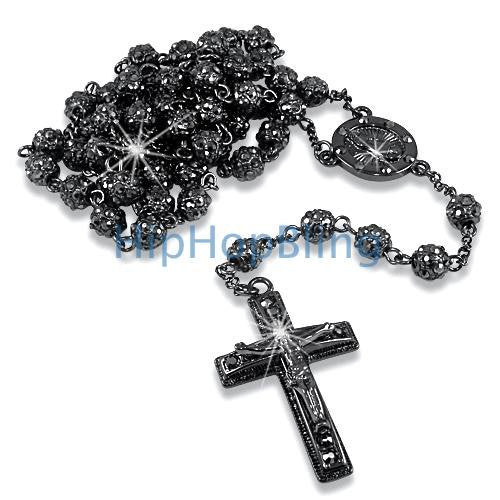 Bling Bling Fully Bling Bead Black Rosary Necklace