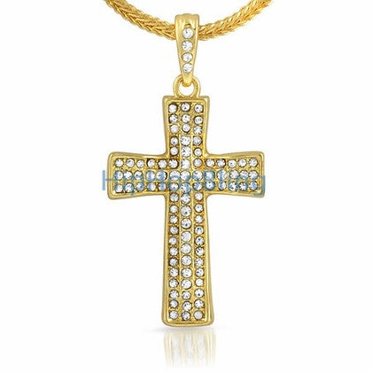 Bling Cross Gold Small Hip Hop Pendant & Chain