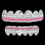 White / Pink Double Deck Iced Out Silver Grillz Hip Hop Grills TOP & BOTTOM TEETH COMBO