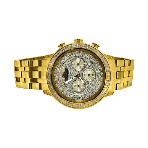 1.00cttw Diamond Ice Time Watch Prince IP Gold