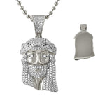 Iced Out Micro Jesus Rhodium Pendant Solid Back