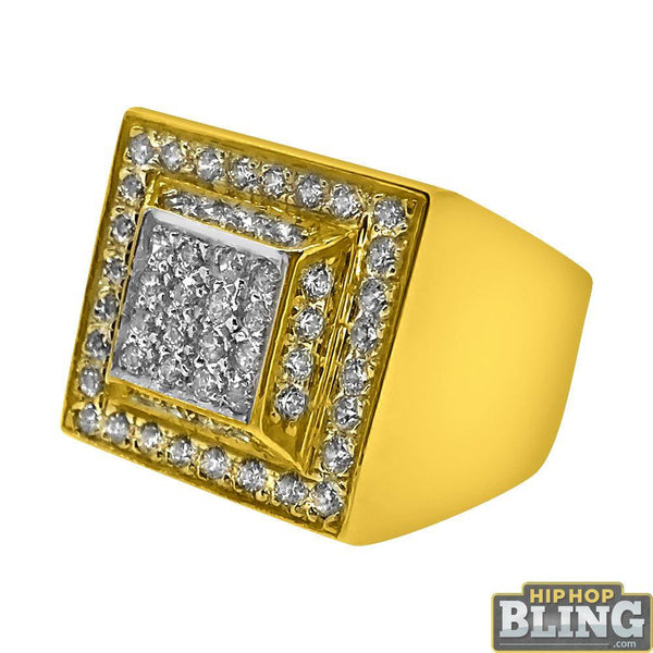 10K Yellow Gold CZ Bling Box Ring