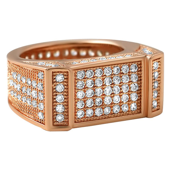 Rose Gold Bar CZ Bling Bling Ring