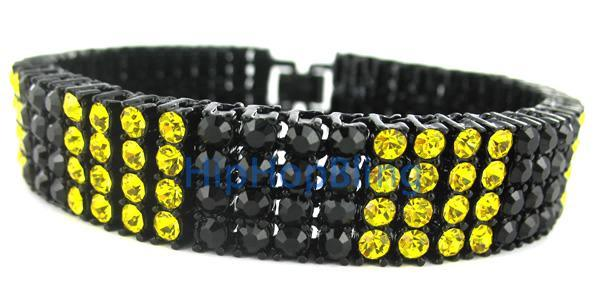Rare Canary & Black Block 4 Row Hip Hop Bracelet