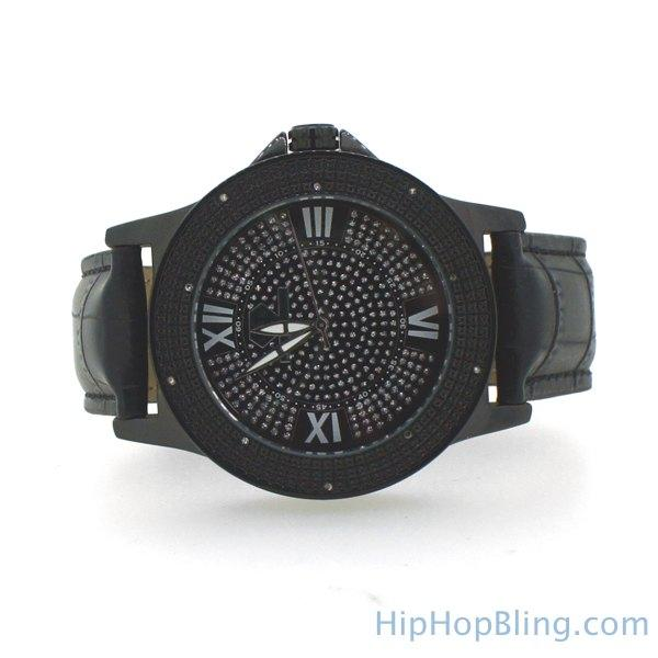 All Black Sports Watch Genuine Diamonds Super Techno