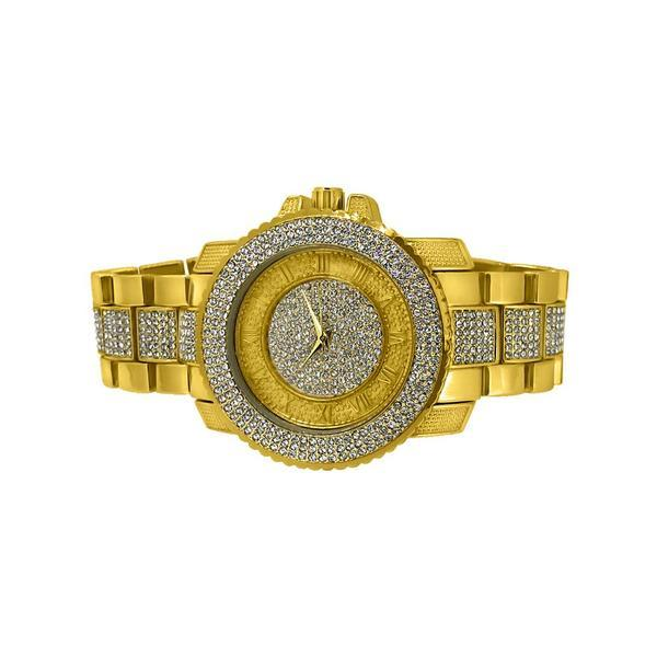 Bling Bling Gold Mesh Band Round LED Touch Screen Watch