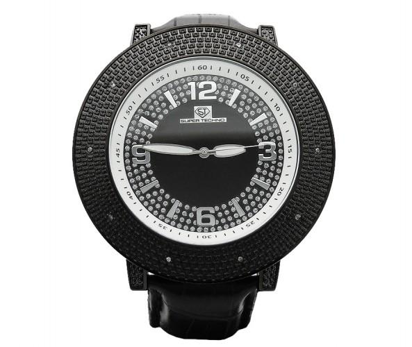 Black Super Techno Watch Real Diamonds