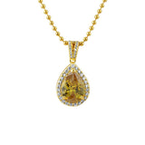 Pear Cut Faux Canary Diamond Gold Bling Pendant