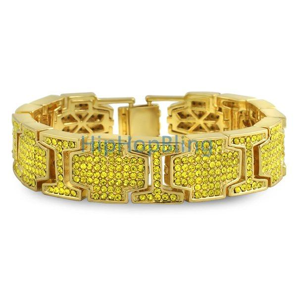 Thick Cross Link Lemonade Bling Bling Bracelet