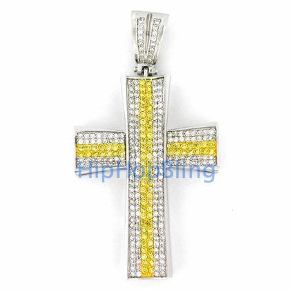 Canary Concave CZ Diamond Micro Pave Cross