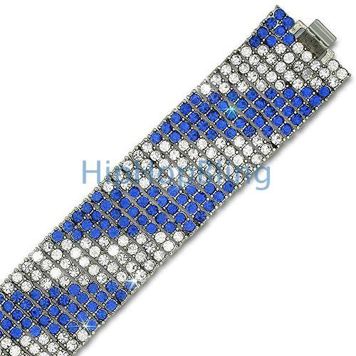 Candy Cane Blue & White 8 Row Bling Bracelet