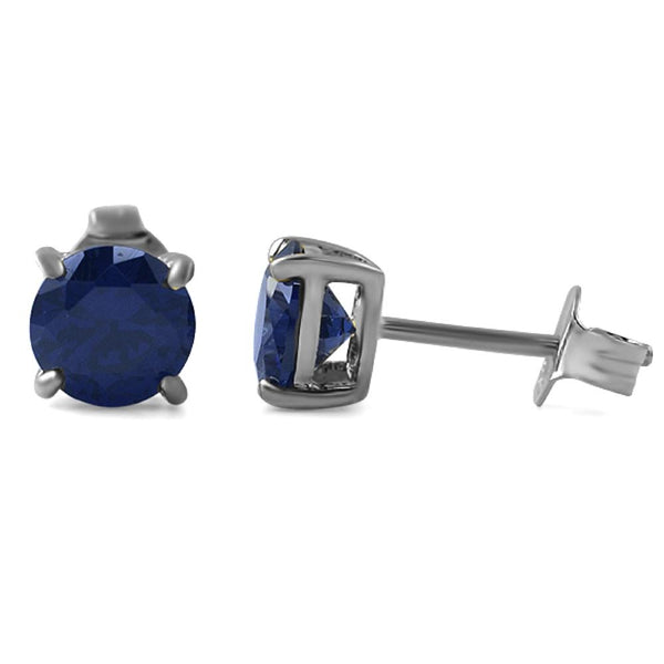 Lab Sapphire Round Stud Earrings .925 Silver