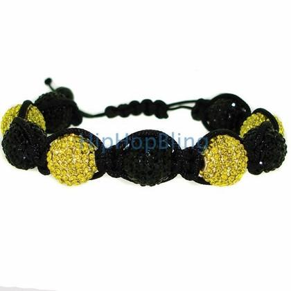 14mm 9 Ball Black & Yellow Disco Ball Bling Bracelet