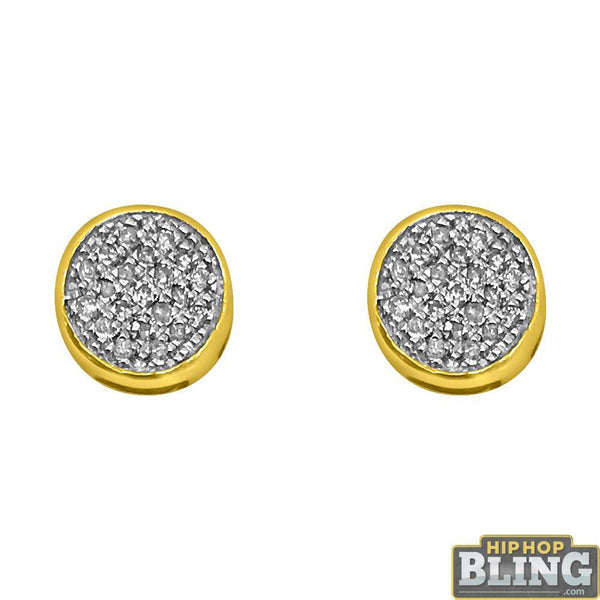 14K Yellow Gold Diamond Circle Earrings .12cttw