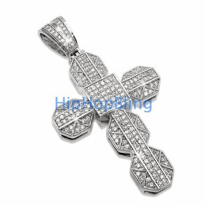 Chunky Bling Cross CZ Micro Pave Pendant
