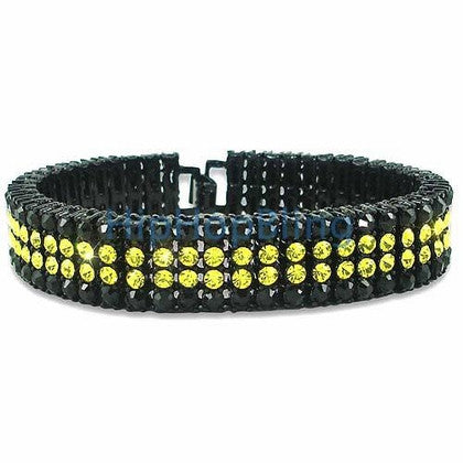 Classic Black & Canary 4 Row Bling Bling Bracelet