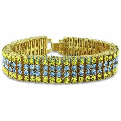 Classic Canary & Blue Gold 4 Row Bling Bling Bracelet