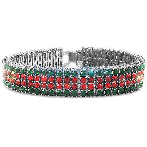 Classic Red & Green 4 Row Bling Bling Bracelet
