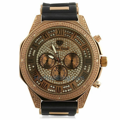 Classic Rose .08cttw Real Diamond Hip Hop Watch