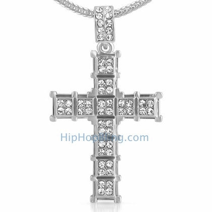 Cube Cross Hip Hop Ice Pendant & Chain Small