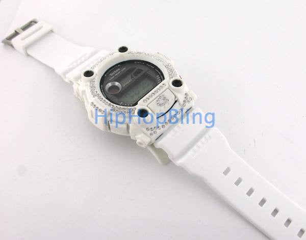 Custom White Bling Bling New Digital Sports Watch