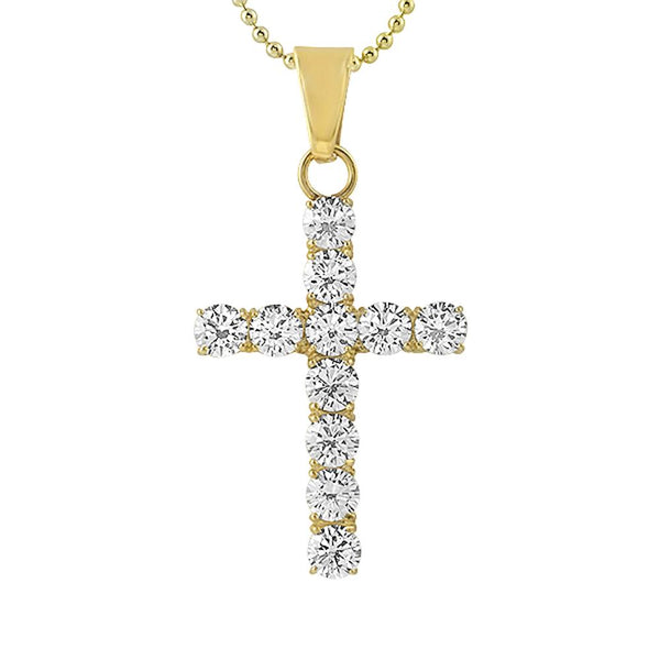6MM CZ Bling Bling Cross Gold Stainless Steel