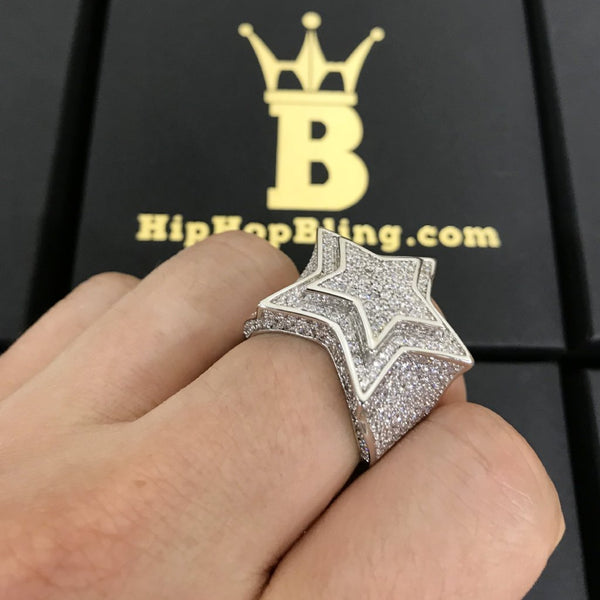 .925 Sterling Silver Super Star Rhodium CZ Bling Ring