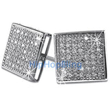 XL Box 98 Stones CZ Micro Pave Iced Out Earrings .925 Silver