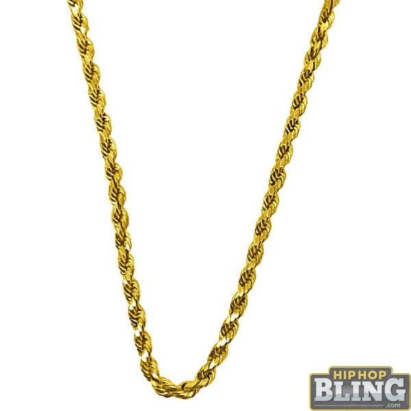 10K Yellow Gold Diamond Cut 3MM French Rope Chain