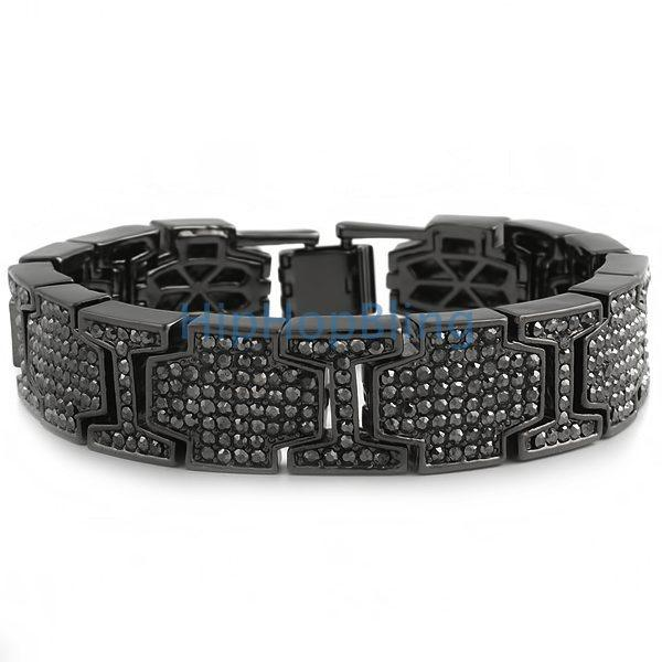 Thick Cross Link Black Bling Bling Bracelet
