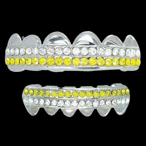 White / Yellow Double Deck Iced Out Silver Grillz Hip Hop Grills TOP & BOTTOM TEETH COMBO