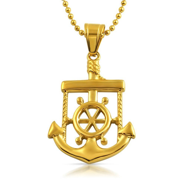Nautical Anchor Sailor Pendant Gold Steel